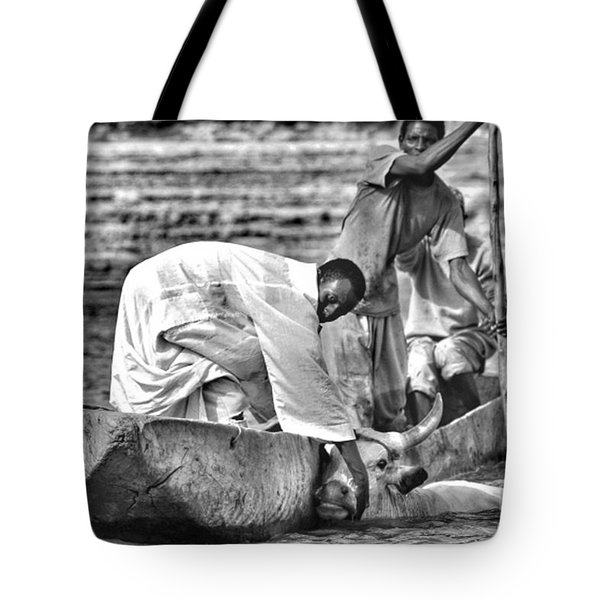 Boat And Cow  Tote Bag