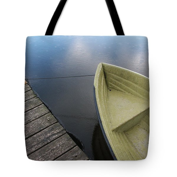 Boat And Wooden Pier - Quiet And Peaceful Scenery Tote Bag by Matthias Hauser
