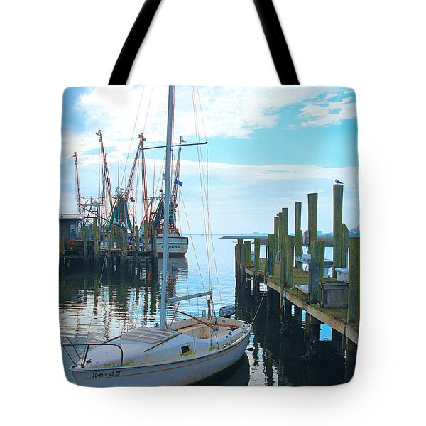 Boat At Dock By Jan Marvin Tote Bag