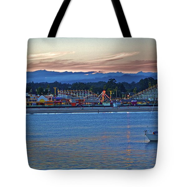 Boat At Dusk Santa Cruz Boardwalk Tote Bag