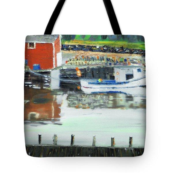 Boat At Louisburg Ns Tote Bag