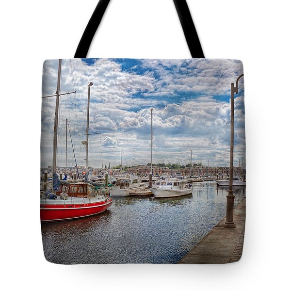 Boat - Baltimore Md - One Fine Day In Baltimore  Tote Bag by Mike Savad