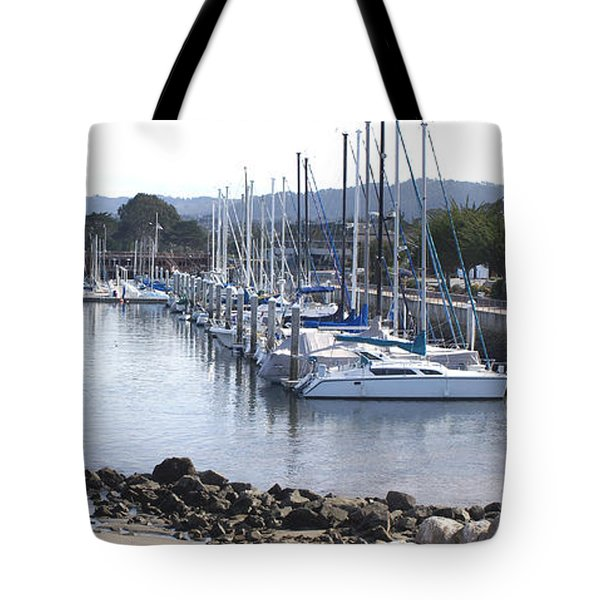 Boat Dock And Big Rocks Right Tote Bag by Barbara Snyder