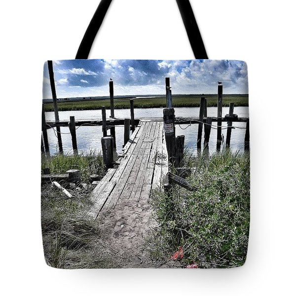 Boat Dock With Gulls Tote Bag by Patricia Greer