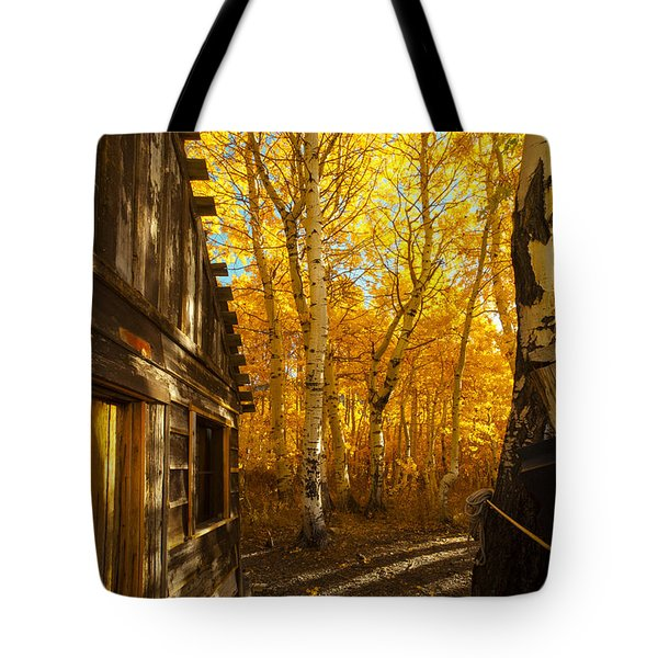 Boat House Among The Autumn Leaves  Tote Bag by Jerry Cowart
