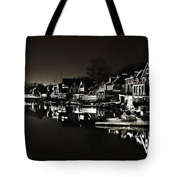 Boat House Row - In The Dark Of Night Tote Bag by Bill Cannon