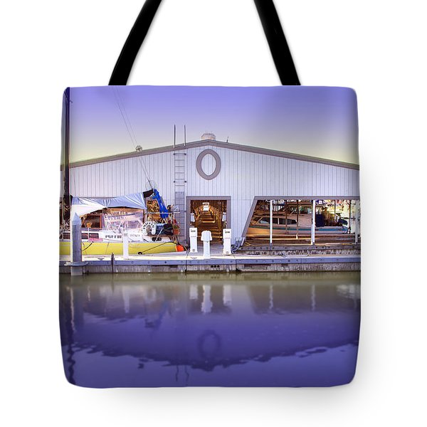Tote Bag featuring the photograph Boat House by Sonya Lang