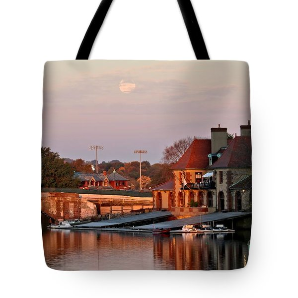 Boat Houses At Dawn Tote Bag by Kenny Glotfelty