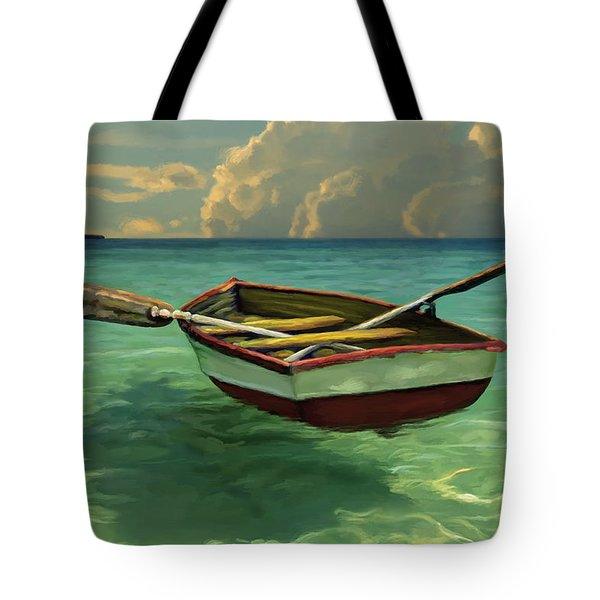 Tote Bag featuring the painting Boat In Clear Water by David  Van Hulst