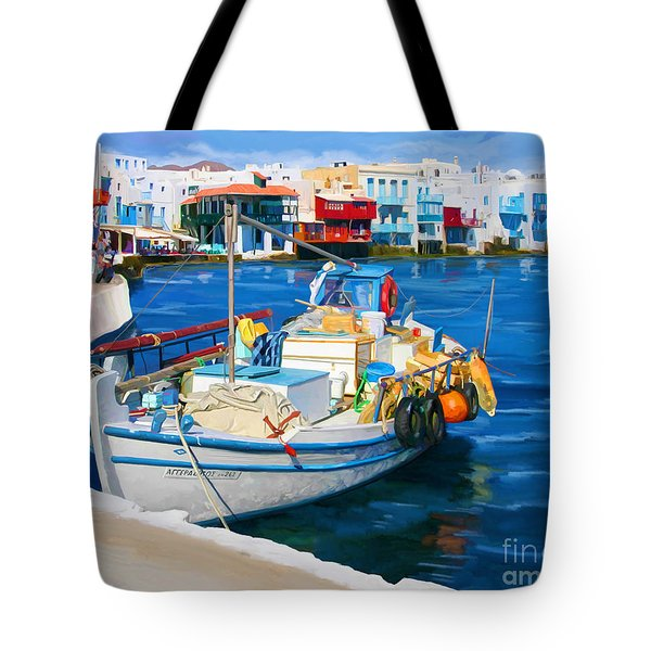 Boat In Greece Tote Bag