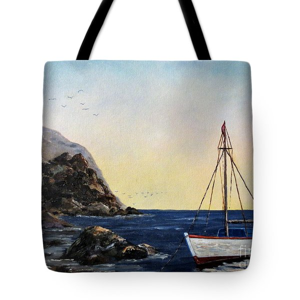Boat In Maine Tote Bag by Lee Piper