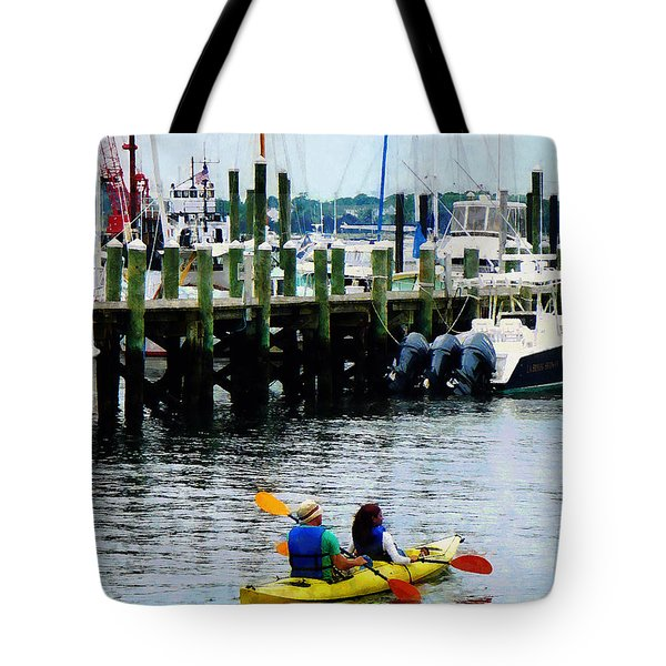 Boat - Kayaking In Newport Ri Tote Bag by Susan Savad