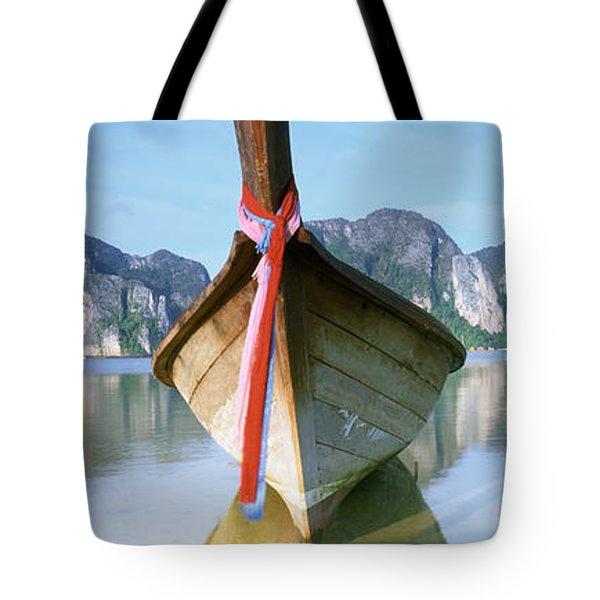 Boat Moored In The Water, Phi Phi Tote Bag