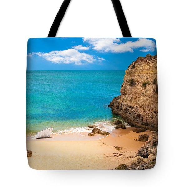 Boat On Beach Algarve Portugal Tote Bag by Amanda Elwell