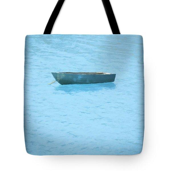 Boat On Blue Lake Tote Bag