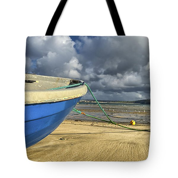 Blue Boat At St Ives Tote Bag