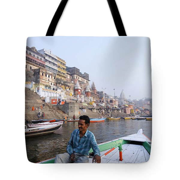 Boat On The River Ganges At Varanasi In India Tote Bag by Robert Preston