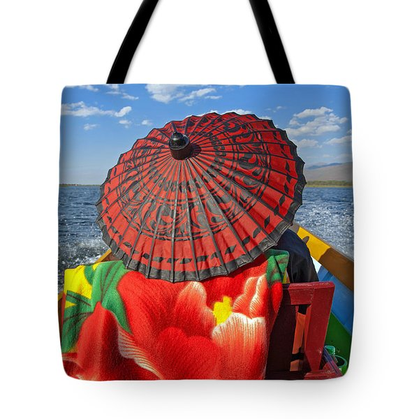 Boat Passanger With Pathein Umbrella Tote Bag by Judith Barath