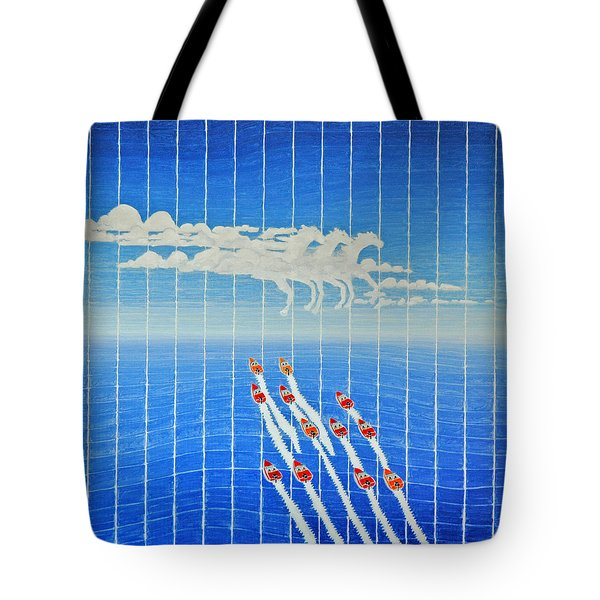 Boat Race Horse Clouds Tote Bag