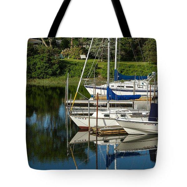 Boat Reflections In Cape Cod Hen Cove Tote Bag by Eleanor Abramson