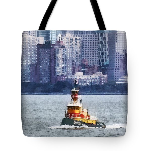 Tote Bag featuring the photograph Boat - Tugboat By Manhattan Skyline by Susan Savad