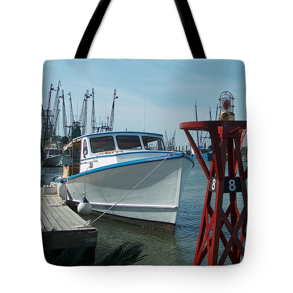 Boat With Light Buoy By Jan Marvin Tote Bag