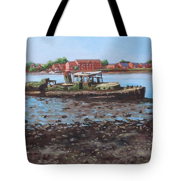 Boat Wreck At Bitterne Manor Park Tote Bag