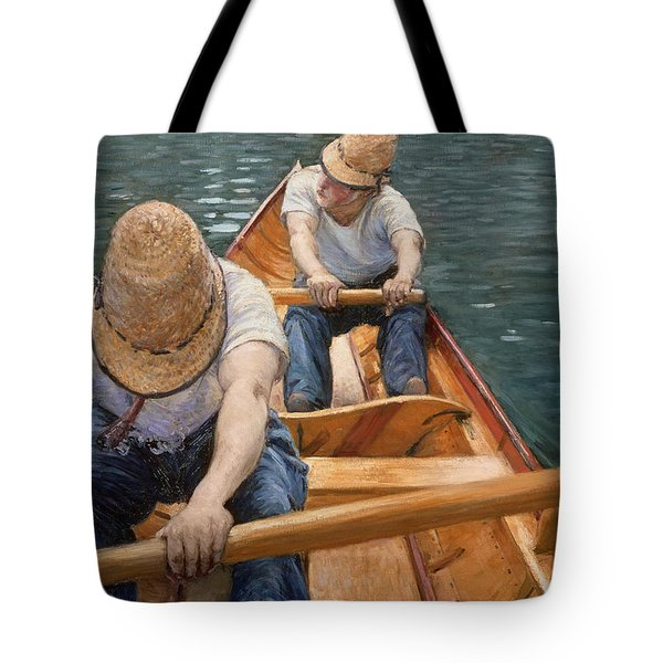 Boaters Rowing On The Yerres Tote Bag by Gustave Caillebotte