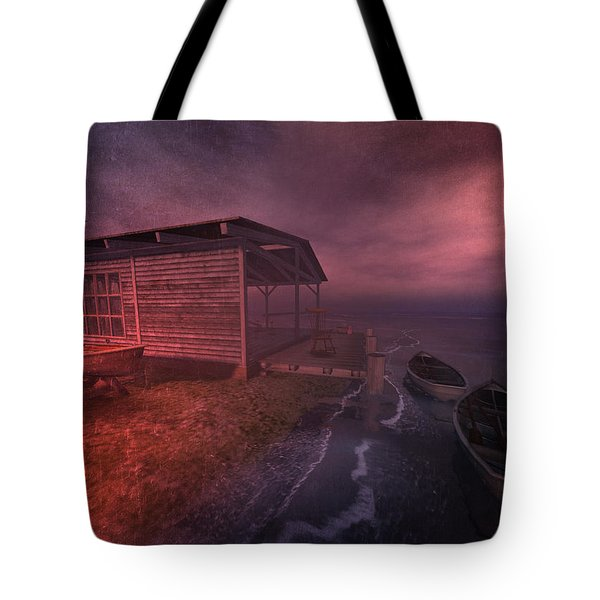 Tote Bag featuring the digital art Boathouse by Kylie Sabra