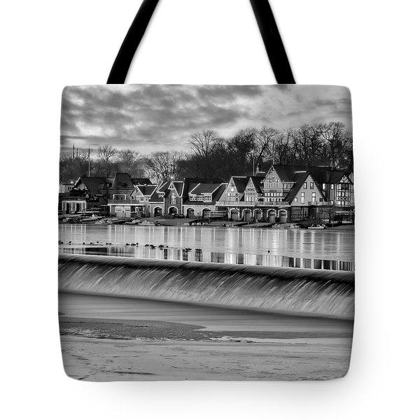 Boathouse Row Philadelphia Pa Bw Tote Bag