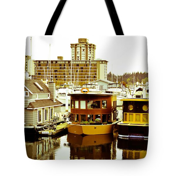 Tote Bag featuring the photograph Boathouses by Eti Reid