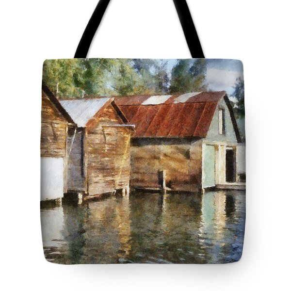 Boathouses On The Torch River Ll Tote Bag