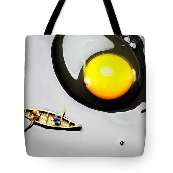 Boating Around Egg Little People On Food Tote Bag by Paul Ge