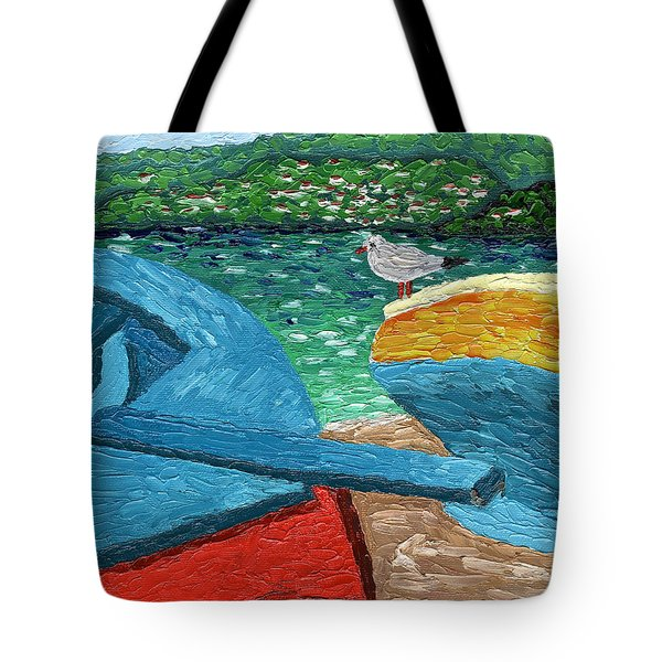 Tote Bag featuring the painting Boats And Bird At Rest by Laura Forde