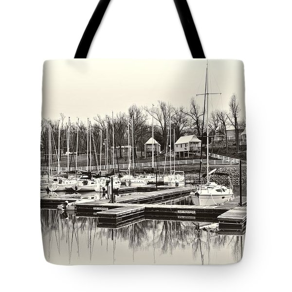 Boats And Cottages In B/w Tote Bag by Greg Jackson