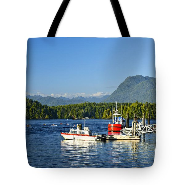 Boats At Dock In Tofino Tote Bag