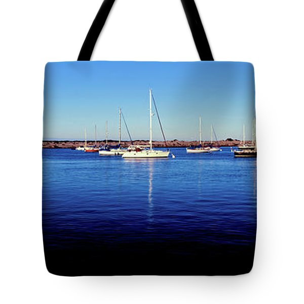 Boats At Harbor In Front Of The Morro Tote Bag