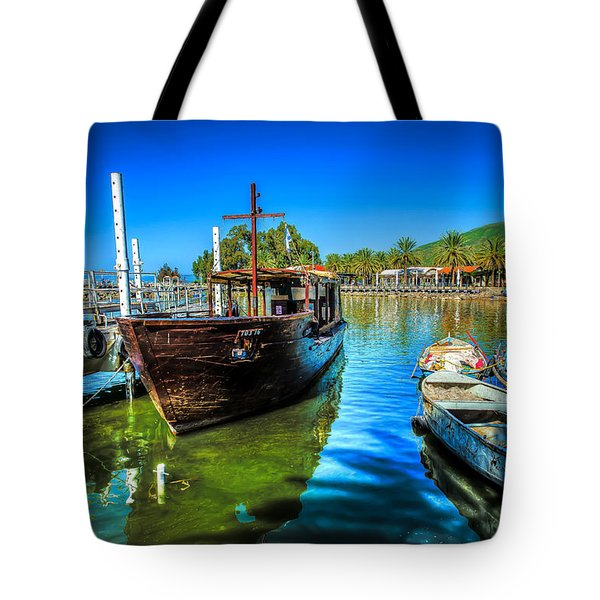 Boats At Kibbutz On Sea Galilee Tote Bag