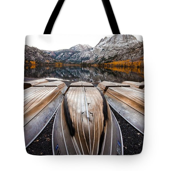 Boats At Mountain Lake In Autumn Fine Art Photograph Print Tote Bag by Jerry Cowart