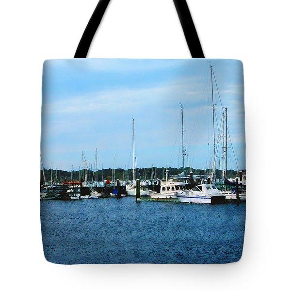 Boats At Newport Ri Tote Bag by Susan Savad