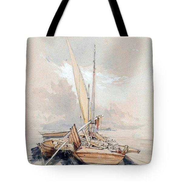 Boats At Quayside Lake Geneva Tote Bag by James Holland