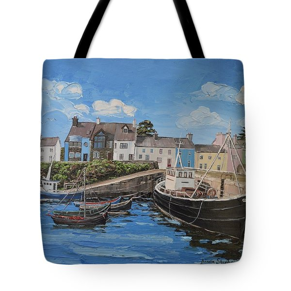 Boats At Roundstone  Harbour Connemara Co Galway Tote Bag by Diana Shephard