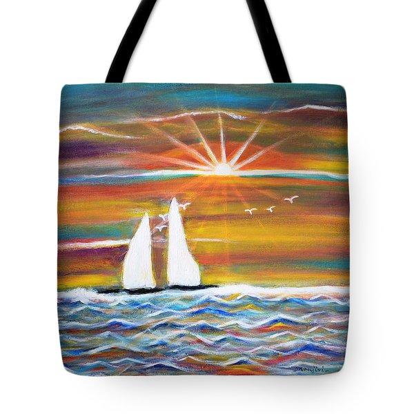 Boats At Sunset Tote Bag