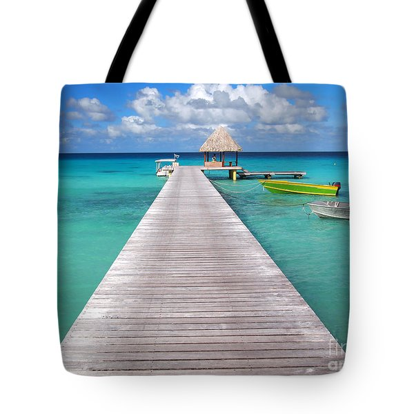 Boats At The Jetty In A Tropical Turquoise Lagoon Tote Bag
