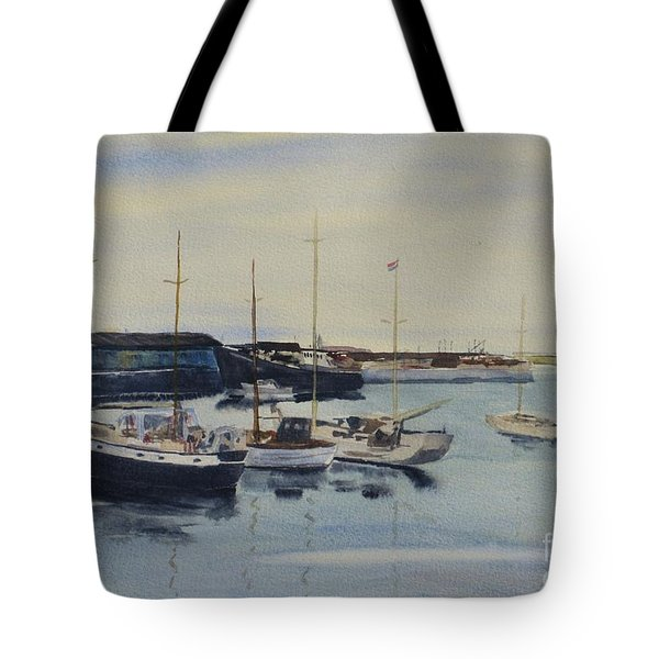 Boats In A Harbour Tote Bag