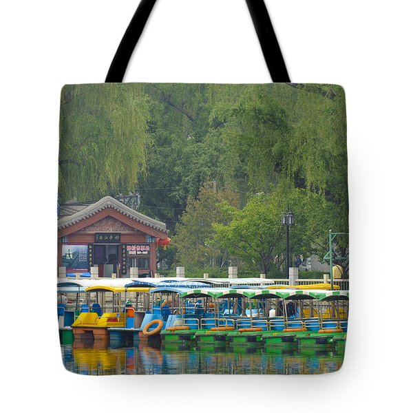 Boats In A Park, Beijing Tote Bag by John Shaw