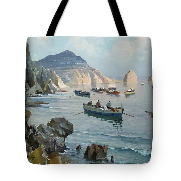 Boats In A Rocky Cove  Tote Bag