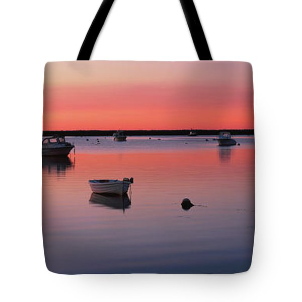 Boats In An Ocean At Sunset Tote Bag