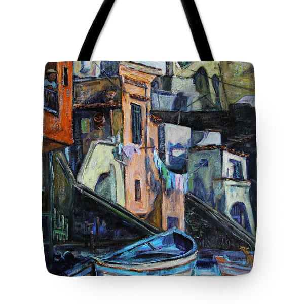 Boats In Front Of The Buildings I  Tote Bag