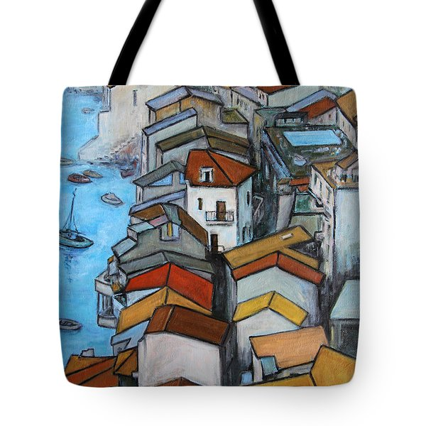 Boats In Front Of The Buildings Iv Tote Bag